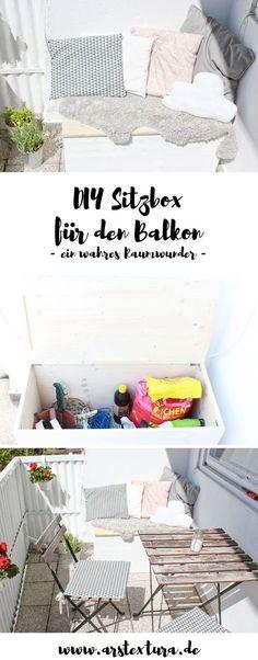 Balkon Ideen: Einfache Sitzbox aus Holz bauen für den Balkon - mit DIY Anleitung | Sitzecke Balkon