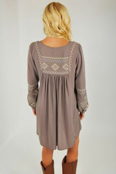 Peasant Tunic Dress in Charcoal