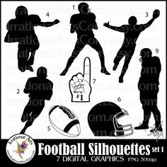 Football Silhouettes set 1  with 8 Digital by IrrationalArts