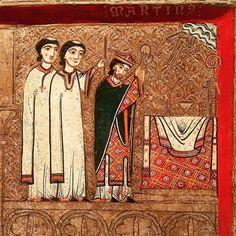 La messe de saint Martin.  Devant d'autel du XIIIème siècle.  Musée d'Art de Catalogne. Barcelone. Espagne.