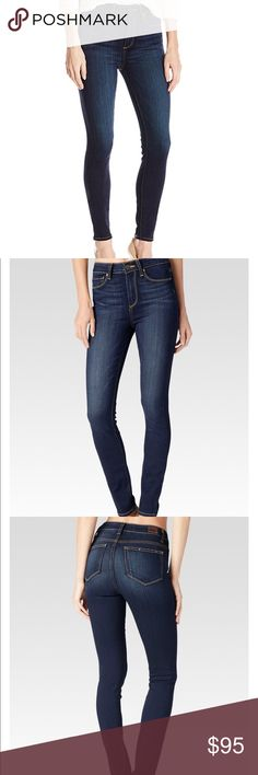 """Anthropologie Paige Margot high rise skinny jeans MARGOT - ARMSTRONG Made from our most luxuriously soft TRANSCEND fabric. Using the latest  fiber technology, this denim features an innovative formula that combines chic with comfort and won't stretch out no matter what.  Jeans hv 11"""" high rise and is super stretchy to guarantee the skinniest fit down the leg.  Front Rise: 11"""" Inseam on Sz 24 & Sz 25 is 30"""" and on Sz 26 is 30.5""""  Leg Opening: 10 1/4"""" 54% Rayon, 23% Cotton, 22% Polyester, 1%…"""