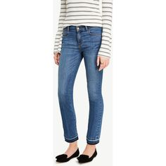 Ann Taylor Raw Hem Kick Crop Jeans ($89) ❤ liked on Polyvore featuring jeans, seaside wash, cropped jeans, petite jeans, blue denim jeans, denim jeans and ann taylor jeans