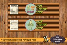 Halloween Water Bottle Labels - 100% Monster Juice - Halloween Birthday - Water Bottle Labels - DIGITAL FILES  wording can be changed, please