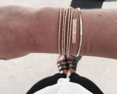 bracelet stack. gold pyrite. hand stamped. gold cuff. click to shop