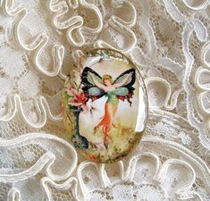Antique Flower Fairy 30X40mm Glitter Unset Handmade Art Bubble Cameo Cabochon #Handmade #Cameo
