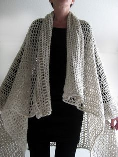 love this - photo tutorial - easy to do crochet cardi-cape!!