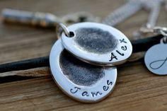 Fingerprint Oval Duo Necklace - silver fingerprint necklace, finger print chain, childrens prints