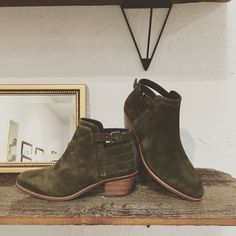Ummmmm... these @viaspiga booties are so my jam... OLIVE GREEN SUEDE. Yes please.  #betsykingshoes #paseoartsdistrict #fallishere #shoesaremyjam #shoplocal
