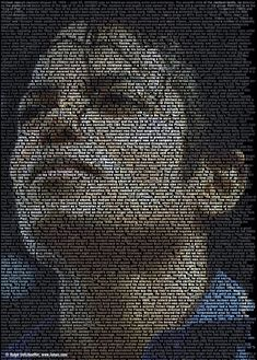 Michael Jackson TEXT-PORTRAIT by Ralph Ueltzhoefer;  Words and images blend together to define complex visual portraits. Ueltzhoefer searches the internet and collects biographies, fragments of words and phrases, and text from Wikipedia about the celebrity.  He sets white text, line by line, onto black backgrounds, and changes the color of the text to provide the shading to create the portraits.