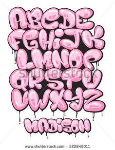 Graffiti bubble shaped alphabet set.