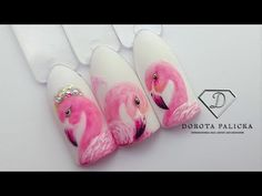 Special flamingo nail art design tutorial for you. 3d Acrylic Nails, Summer Acrylic Nails, Gel Nail Art, Diy Nails, Swag Nails, Aquarium Nails, Flamingo Nails, Mandala Tattoo Design, Super Nails