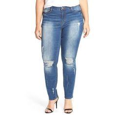 JUANROSEDestroyed StretchSkinny Jeans ($119) ❤ liked on Polyvore featuring jeans, medium blue denim, plus size, ripped jeans, stretch jeans, destroyed skinny jeans, plus size stretch skinny jeans and super stretch skinny jeans