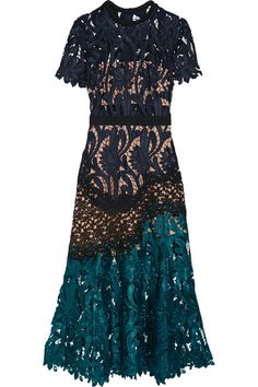 Midnight-blue, teal and black guipure lace Concealed hook and zip fastening at…