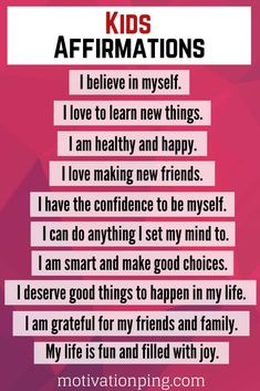 Positive Affirmations For Kids To Build Self Esteem
