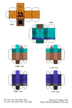 Minecraft Papercraft Steve with Pumpkin Head