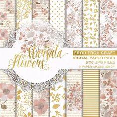 kits fondos papeles diseños digital marsala flowers