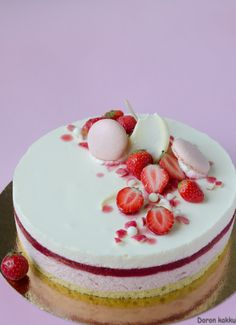 raparperi-mansikka-valkosuklaamoussekakku Baking Recipes, Cake Recipes, Dessert Recipes, Chocolate Mousse Cake, White Chocolate, Funny Cake, Sweet Bakery, Rhubarb Recipes, Sweet And Salty