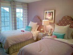 Girl's Bedroom- Graphic Purple upholstered Headboards- Morrison Homes