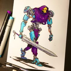 Colored this with some markers sent to me by in Germany. They are so rich and bright! Pretty impressed with them. by jakeparker Robot Concept Art, Robot Art, Comic Kunst, Comic Art, Fantasy Kunst, Fantasy Art, Art Graphique, Sci Fi Art, Copic