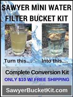 The Sawyer Mini Water Filter is an amazing filter - so small and portable. Adapting it for use by multiple people is not easy - until now: The Sawyer Bucket Filter Kit.    Only $10 with free shipping.    Check out our other boards for all things Survival, Preparedness, and Firearms.