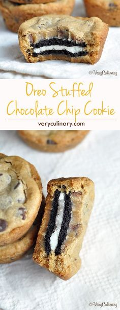 Oreo Stuffed Chocolate Chip Cookies - the best cookies ever! #dessert #recipes #delicious #recipe #treat #sweet