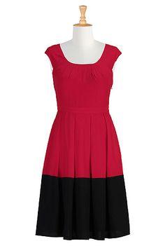 eShakti Red hot colorblock crepe dress