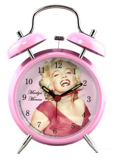 Marilyn Monroe retro-style twin bell alarm clock, Bernard of Hollywood. Made by Renaissance Road Inc.