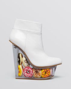 NWOB JEFFREY CAMPBELL ICY DOUGHNUTS White Leather Rare Limited Edition sz US 7.5 #JeffreyCampbell #PlatformsWedges #Party