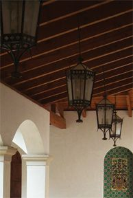 spanish house electric lanterns Ceiling Fan Chandelier, Lanterns, Residential, Spanish House, Pendant Light, Chandelier, Living Area Design, Wrought Iron, Ceiling Lights