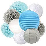 Amazon.com: 20pcs Baby Blue White Grey Baby Boy Baby Shower/Party Paper Decorations First Birthday Boy Decorations Tissue Paper Pom Pom Tassel Garland Circle Paper Garland Baby Shower Decorations Boy: Home & Kitchen