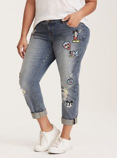 Plus Size Premium Mickey Mouse Patch Boyfriend Jeans, MICKEY COMIC, hi-res