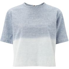 Rag & Bone Light Blue Cotton Grimsby Crop Top (€62) ❤ liked on Polyvore featuring tops, crop tops, t-shirts, clothing - tops, round neck crop top, stretchy crop top, crop top, zipper crop top and ombre top