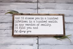 Id Choose You Farmhouse Sign Farmhouse Decor Rustic