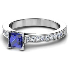 European Engagement Ring - Princess Cut Sapphire White Gold Ring with Diamond Band - Petite Engagement Ring, Engagement Rings Princess, Best Engagement Rings, Alternative Engagement Rings, Sapphire And Diamond Band, Blue Sapphire Rings, Diamond Bands, Gold Band Ring, White Gold Rings