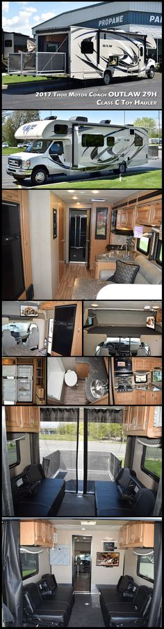 """The OUTLAW 29H breaks the rules of traditional motorhomes and is on everyone's """"Wanted List"""". This 2017 Thor Motor Coach Class C TOY HAULER has an expansive garage and ultra-flexible living space. Whether it is to fuel your passion for motocross or to accommodate your thriving business with a mobile office, the possibilities are limitless. Relax on the opposing leatherette sofas in the garage bug free, thanks to the bug screen curtain! You can also enjoy the outdoors on your private PATIO…"""