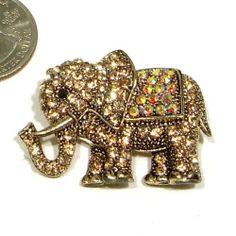 Yellow Topaz & AB Austrian Rhinestone Elephant Gold-Plated Brooch Pin Fashion Jewelry. $12.95