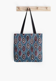 A watercolour in dark sky blues and purply browns, of abstract leaves lined up in stripes to form a pattern that is both casual and elegant, slightly ethnic, and simply organic in nature. Large Bags, Small Bags, Simply Organic, Medium Bags, Cotton Tote Bags, Blue Stripes, Are You The One, Watercolour, Ethnic