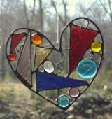 Abstract stained glass heart, mulit colored, unique contemporary  Designs In Stained Glass  #thecraftstar