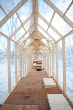Leaving No Trace: A Gathering Place in the Winter Woods | Hidemi Mishida | Fragile Shelter   [timber, plastic, temporary, nomadic, wooden beams, natural]