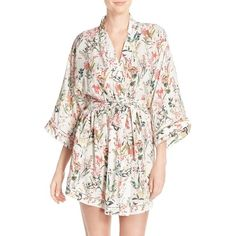 Women's Nordstrom Lingerie 'Sweet Dreams' Print Robe ($35) ❤ liked on Polyvore featuring intimates, robes, ivory botanical floral print, floral print robe, bath robes, floral robe, patterned robes and lingerie robe