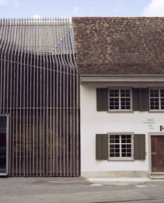 Image 2 of 25 from gallery of Haus zur Blume / Marazzi Reinhardt. Photograph by Ramon Spaeti Architecture Extension, Modern Architecture House, Facade Architecture, Modern House Design, Wooden Facade, Exterior Design, Switzerland, Houses, Gallery