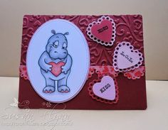 Handmade Valentine card using Beccy's Place image Have A Lovely Weekend, Heart Cards, Rowan, Digital Image, I Card, Valentines Day, Places, Handmade, Animals