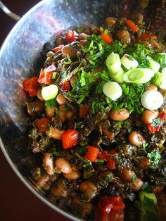 Tbikhit (common to Algeria and Tunisia) - Kale with pinto beans and roasted red pepper | by Warda | 64 sq ft kitchen