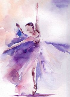 Original Watercolor Painting Ballerina Painting by CanotStop