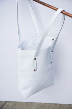 'Alfie Five' simple shopper tote in white - white leather - style - copper - fashion - handmade in England - buy online alfiedouglas.com