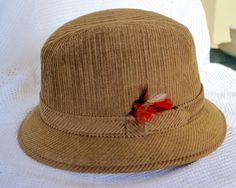 b8aa1a7fe83 Vintage Corduroy Fedora Hat Medium Brown Corduroy with Trim and Red Feather  Made in Canada by