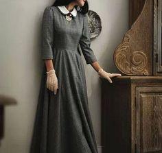 Винтажное длинное платье с рукавами 3/4 / Vintage long dress with 3/4 sleeves
