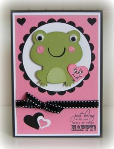 creat a critter. frog on page hearts on page scallop circle and circle use cricut font and basic shapes Create A Critter, Love Cards, Fun Cards, Card Tags, Card Kit, Scrapbook Cards, Scrapbooking, Kids Cards, Baby Cards