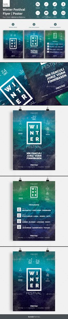 Winter Festival Flyer / Poster by bundothemes These flyer templates are great for club, bar, lounge, festival, party, concert, event or other advertising purposes. Clean, minim