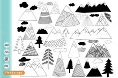 Check out Hand Drawn Mountain Clip Art by FishScraps on Creative Market